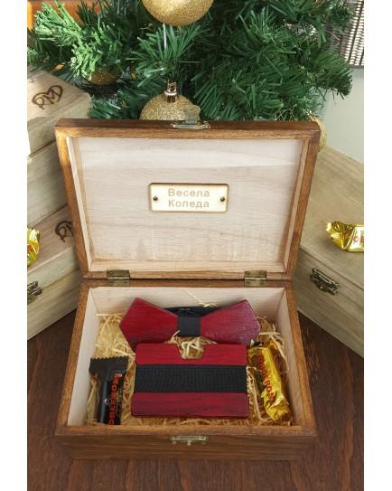 Комплект ръчно изработена дървена папионка и ръчно изработен дървен card holder 5